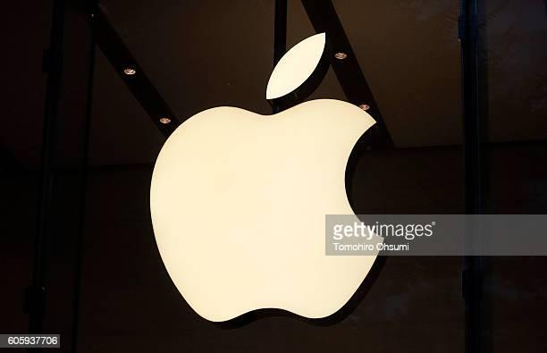 The Apple Inc logo is displayed at the company's Omotesando store on September 16 2016 in Tokyo Japan Apple's iPhone 7 and Apple Watch Series 2 go on...