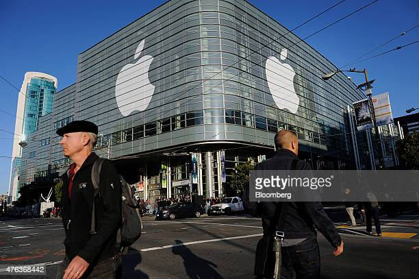 The Apple Inc logo is displayed outside of the Moscone Center before the start of the Apple World Wide Developers Conference in San Francisco...