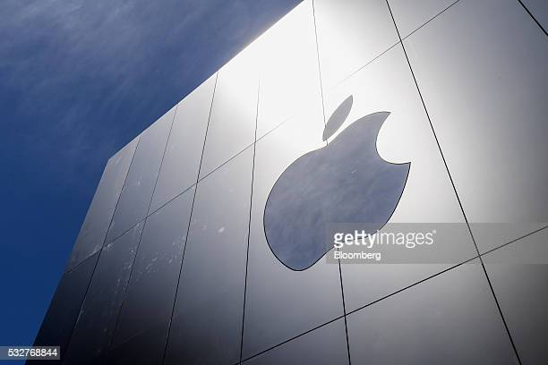 The Apple Inc logo is seen outside of the company's new flagship store at Union Square in San Francisco California US on Thursday May 19 2016 The...