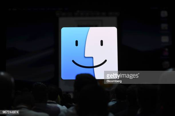 The Apple Inc operating system symbol is displayed during the Apple Worldwide Developers Conference in San Jose California US on Monday June 4 2018...