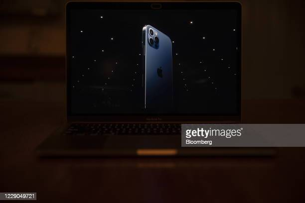 The Apple iPhone 12 Pro is unveiled during a virtual product launch seen on a laptop computer in Tiskilwa, Illinois, U.S., on Tuesday, Oct. 13, 2020....