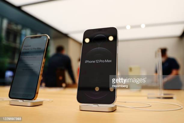 The Apple iPhone 12 Pro Max at the Apple flagship store during a product launch event in Sydney, Australia, on Friday, Nov. 13, 2020. Sales of the...