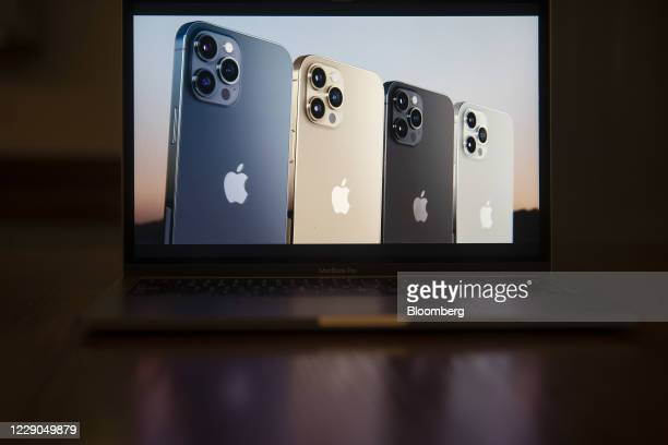 The Apple iPhone 12 Pro Max is unveiled during a virtual product launch seen on a laptop computer in Tiskilwa, Illinois, U.S., on Tuesday, Oct. 13,...