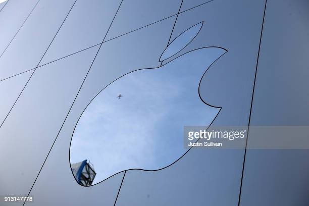 The Apple logo is displayed on the exterior of an Apple Store on February 1 2018 in San Francisco California Apple will report quarterly earnings...