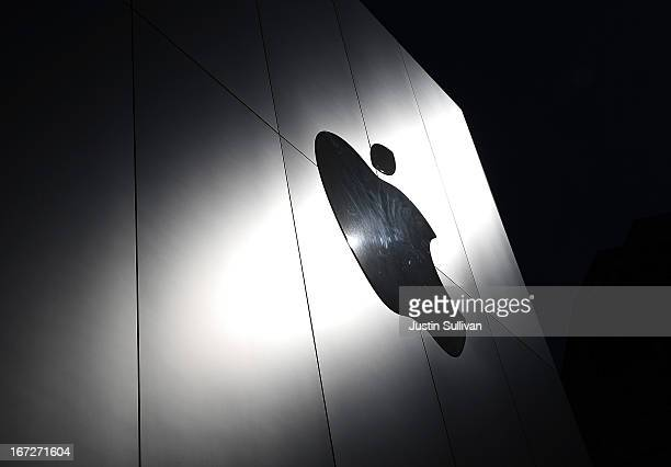 The Apple logo is displayed on the exterior of an Apple Store on April 23 2013 in San Francisco California Analysts believe that Apple Inc will...