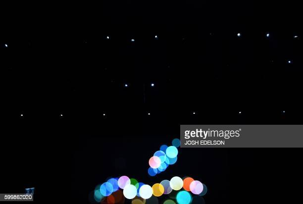The Apple logo is seen on the outside of Bill Graham Civic Auditorium before the start of an event in San Francisco California on September 7 2016...