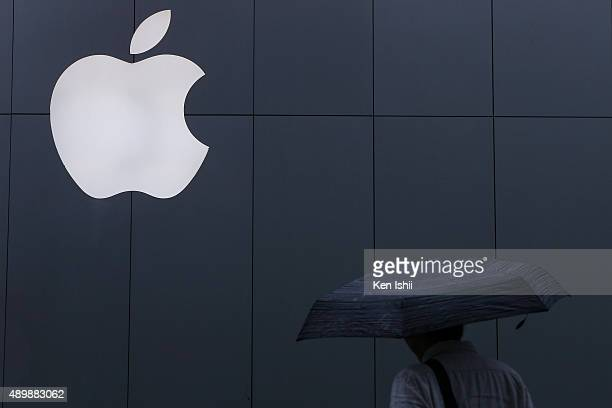 The Apple logo is seen on the wall at Apple Ginza store on September 25 2015 in Tokyo Japan Apple is launching iPhone 6s and 6s Plus in 12 regions...