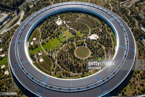 The Apple Park campus stands in this aerial photograph taken above Cupertino California US on Wednesday Oct 23 2019 Apple Inc will report its...
