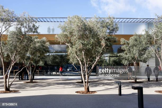 The Apple Park Visitor Center is seen on November 17 2017 in Cupertino California / AFP PHOTO / Amy Osborne
