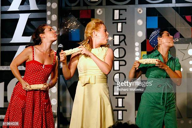 The Apple Sisters perform during the Sketch Show at the 2008 'Just For Laughs' Comedy Festival on July 16 2008 in Montreal Canada