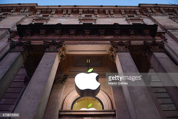 The Apple Store logo leaf is turned green in Buchanan Street for Earth Day on April 22 2015 in Glasgow Scotland