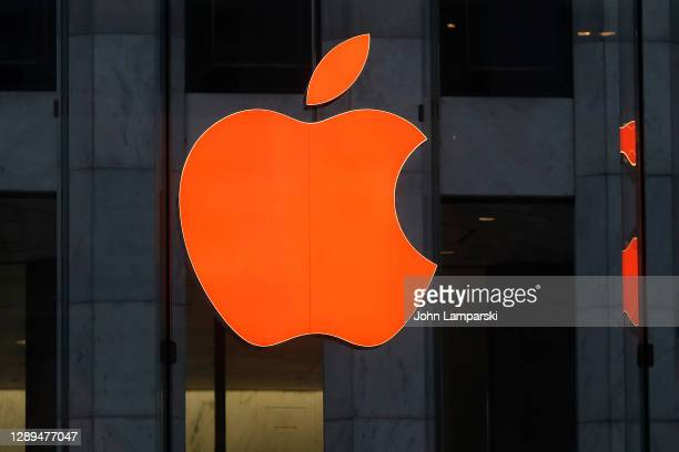 The Apple Store on Fifth Avenue displays their logo in holiday color in Midtown on December 4, 2020 in New York City. Many holiday events have been...