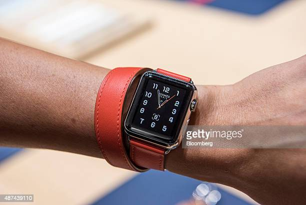 The Apple Watch Hermes is displayed for a photograph after an Apple Inc product announcement in San Francisco California US on Wednesday Sept 9 2015...