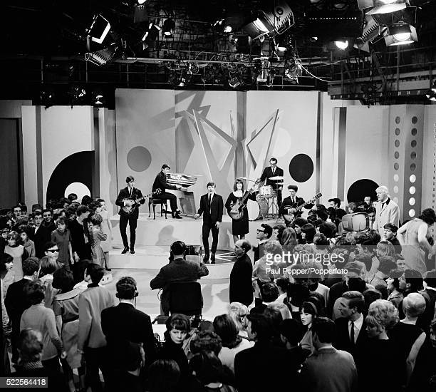 The Applejacks performing in the BBC Top of the Pops studio at Dickenson Road in Manchester 25th March 1964 The presenter of the programme Jimmy...