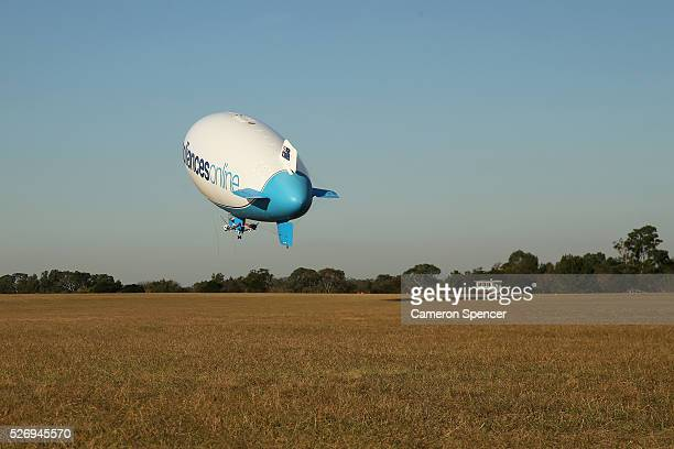 The Appliances Online blimp takes off from Camden Airport on April 28, 2016 in Sydney, Australia. The Appliances Online blimp is the only blimp...