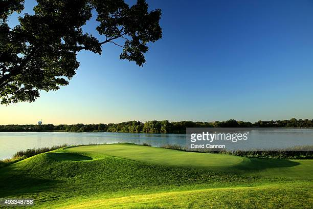The appraoch to the green on the 402 yards par 4, 7th hole at Hazeltine National Golf Club the host venue for the 2016 Ryder Cup Matches on August...