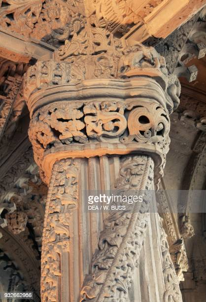 The Apprentice Pillar detail Rossylyn Chapel Roslyn Scotland United Kingdom 15th century