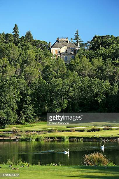 The approach on the 515 metres par 5, 6th hole on the 'Le Chateau' course at The Terre Blanche Hotel Spa Golf Resort on May 18, 2015 in Tourettes,...