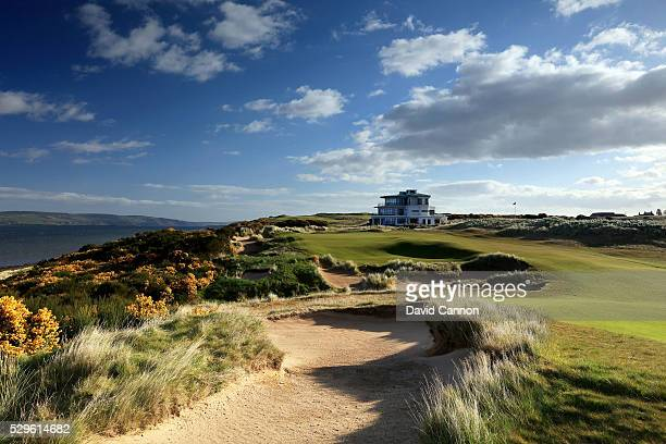The approach to the green on the 364 yards par 4 ninth hole on the Castle Stuart Golf Links designed by Mark Parsinen and Gil Hanse on May 5 2016 in...