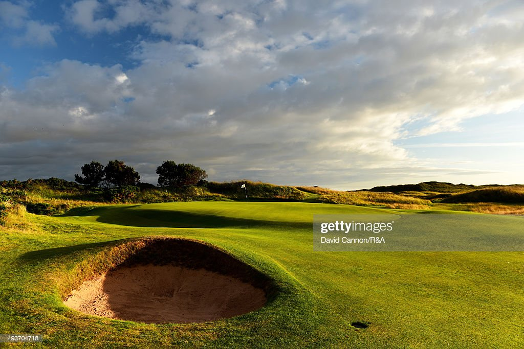 The approach to the green on the 431 yards par 4, 12th hole 'The Fox' on the Old Course at Royal Troon venue for the 2016 Open Championship on July 29, 2015 in Troon, Scotland.