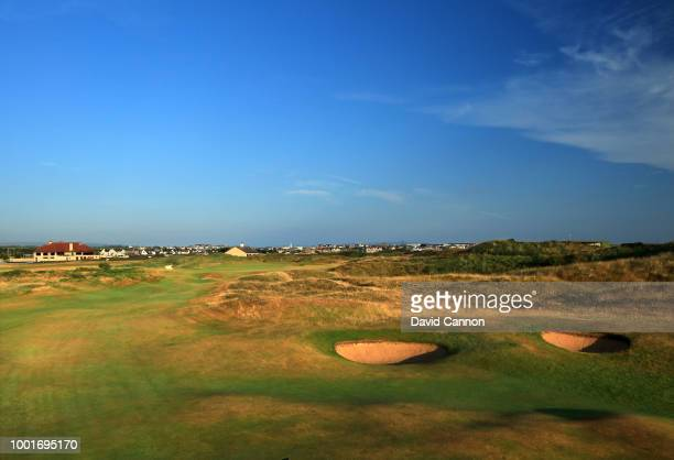 The approach to the green on the 473 yards par 4 18th hole 'Babington's' on the Dunluce Links at Royal Portrush Golf Club the venue for The Open...