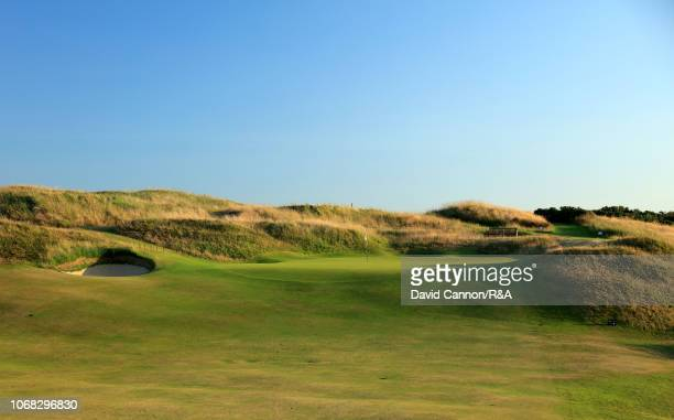 The approach to the green on the 475 yards par 4, eleventh hole 'P.G. Stevenson's' on the Dunluce Links at Royal Portrush Golf Club the venue for The...