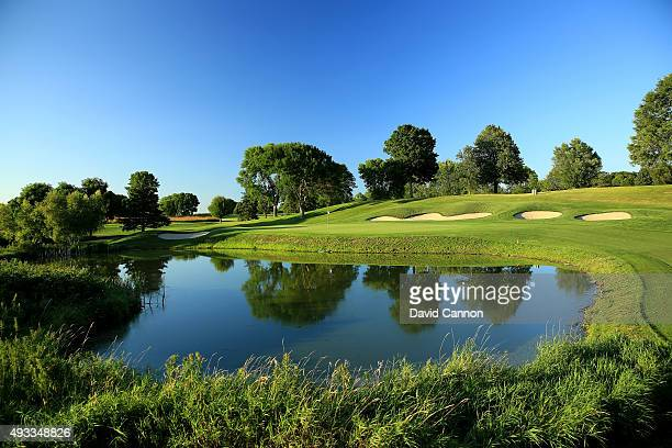 The approach to the green on the 572 yards par 5 16th hole at Hazeltine National Golf Club the host venue for the 2016 Ryder Cup Matches on August 11...