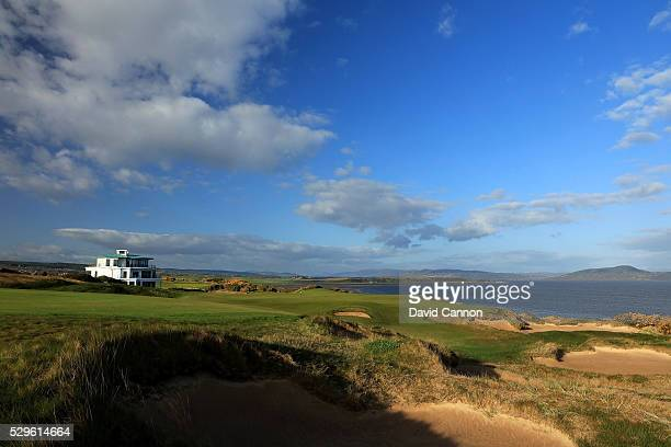 The approach to the green on the 595 yards par 5, 18th hole on the Castle Stuart Golf Links designed by Mark Parsinen and Gil Hanse on May 5, 2016 in...