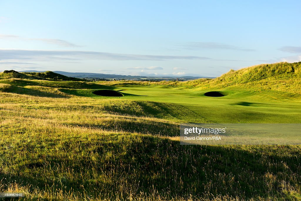 The approach to the green on the 601 yards par 5, 6th hole 'Turnberry' on the Championship Course at Royal Troon venue for the 2016 Open Championship on July 29, 2015 in Troon, Scotland.
