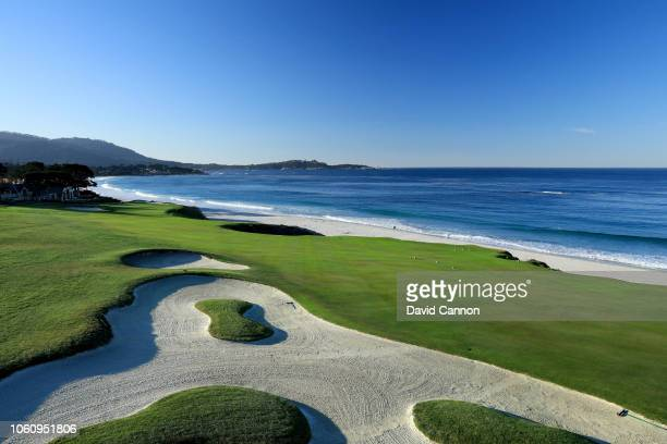 The approach to the green on the par 4 10th hole at Pebble Beach Golf Links the host venue for the 2019 US Open Championship on November 8 2018 in...