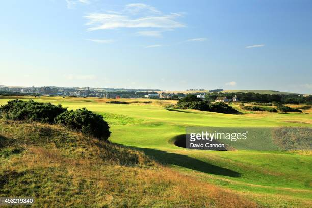 The approach to the green on the par 4 13th hole on the Old Course at St Andrews venue for The Open Championship in 2015 on July 29 2014 in St...