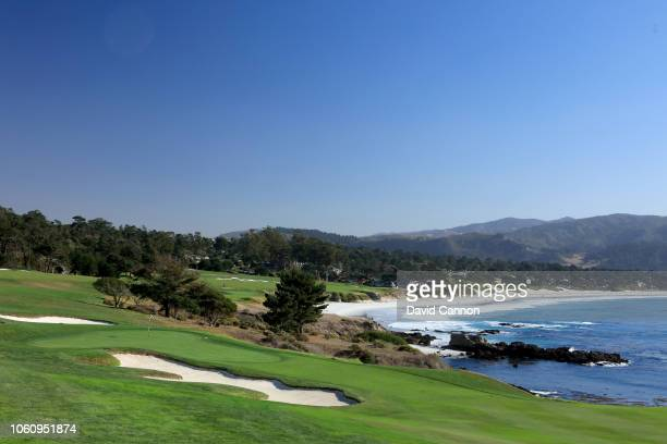 The approach to the green on the par 4 eighth hole at Pebble Beach Golf Links the host venue for the 2019 US Open Championship on November 8 2018 in...