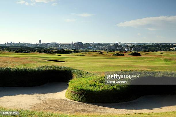 The approach to the green with 'Hell Bunker' on the par 5, 14th hole on the Old Course at St Andrews venue for The Open Championship in 2015, on July...