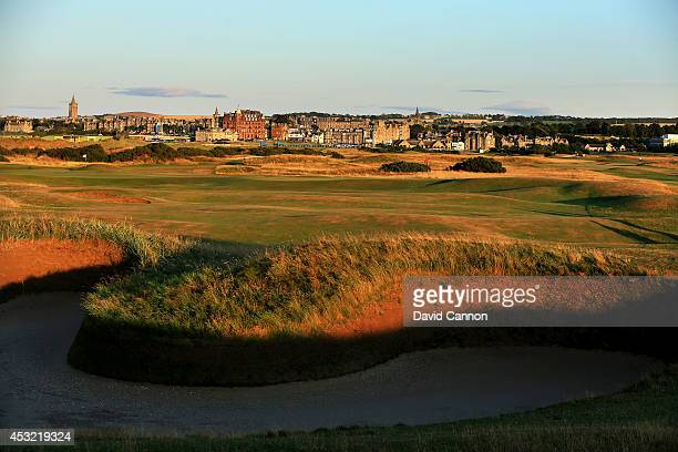 The approach to the green with 'Hell Bunker' on the par 5 14th hole on the Old Course at St Andrews venue for The Open Championship in 2015 on July...