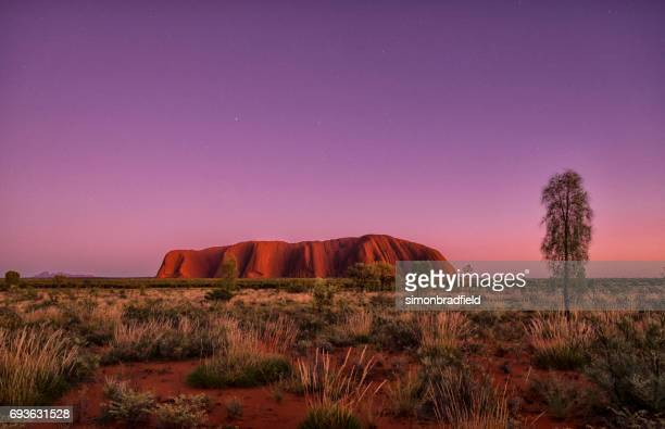 the approaching dawn and uluru - uluru stock photos and pictures
