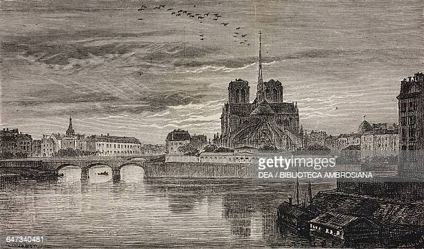 The apse of the Church of NotreDame engraving by Sargent based on a drawing by Daubigny from ParisGuide by leading writers and artists of France...