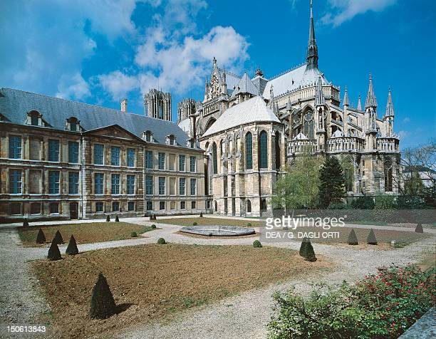 The apse with the Archbishop's palace within the complex of the Cathedral of NotreDame Reims France 13th century