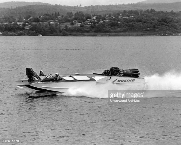 The AquaJet on Lake Washington a jet engine powered experimental speed boat made by Boeing Seattle Washington early 1960s It is 38 feet long with a...