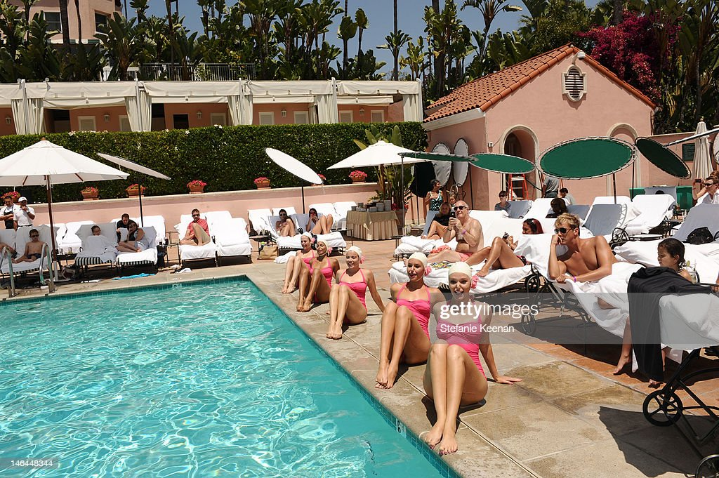 The Aqualillies Perform At Beverly Hills Hotel 100th Anniversary Weekend Cabana Chic Pool