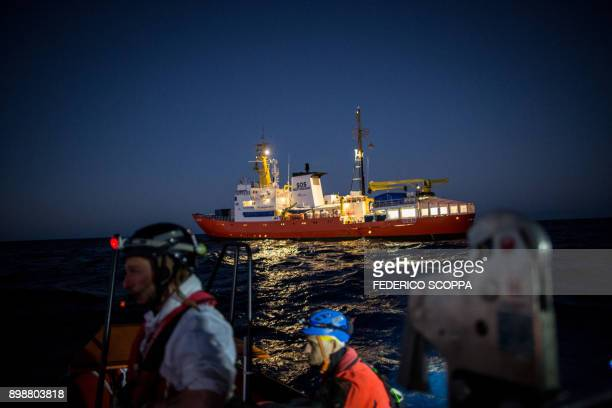 TOPSHOT The Aquarius a former North Atlantic fisheries protection ship now used by humanitarians SOS Mediterranee and Medecins Sans Frontieres is...