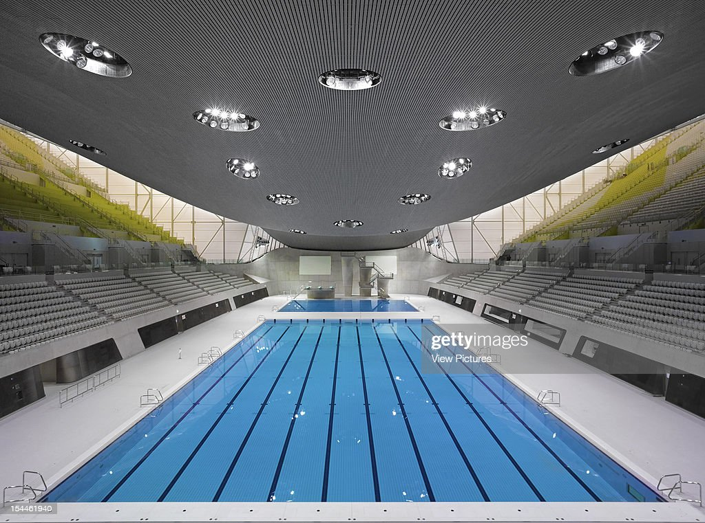 The Aquatics Centre-London 2012 Olympics-Zaha Hadid Architects -Overall Pool Interior, Zaha Hadid Architects, United Kingdom, Architect : News Photo