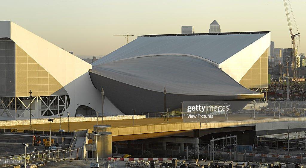 The Aquatics Centre-London 2012 Olympics-Zaha Hadid Architects-Exterior View With Late Afternoon Light, Zaha Hadid Architects, United Kingdom, Architect : News Photo
