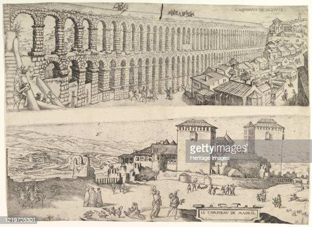 The Aqueduct at Segovia and The Castle of Madrid, 1500-1599. Artist Jan Cornelisz Vermeyen.