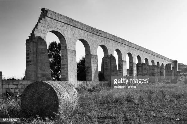 The aqueduct in Gozo, sister island of Malta in the Mediterranean sea