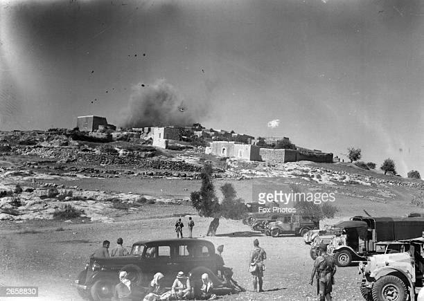 The Arab village of Miar near Haifa being blown up during a period of unrest in the British mandate of Palestine This is a punishment and warning to...