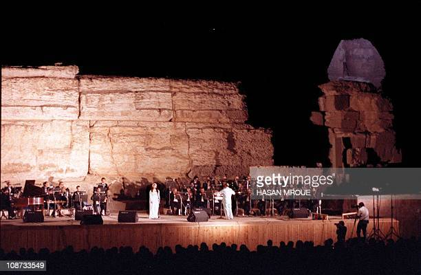 The Arab world's most renowned living singer Fairuz performs at the pyramids of Giza outside Cairo in July 1989 Fairuz gave a sellout concert in Las...