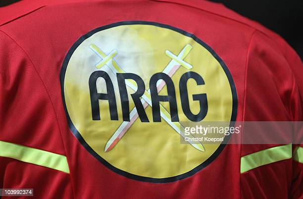 The ARAG sponsor is seen on a referee jersey during the Toyota Handball Bundesliga match between HSG Wetzlar and HSV Hamburg at the Rittal Arena on...