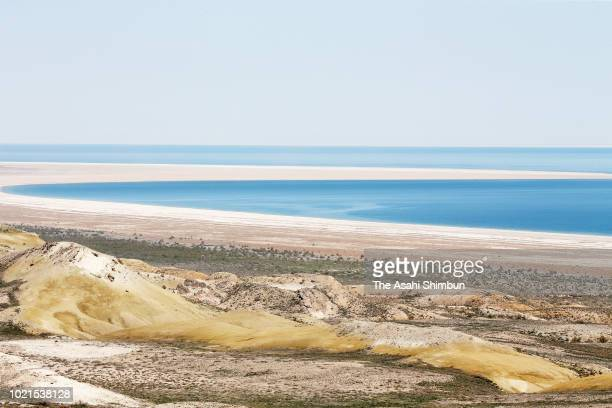 The Aral Sea is seen on May 5 2018 near Muynak Uzbekistan The Aral Sea used to be the fourth biggest lake in the world had been shrinking due to the...