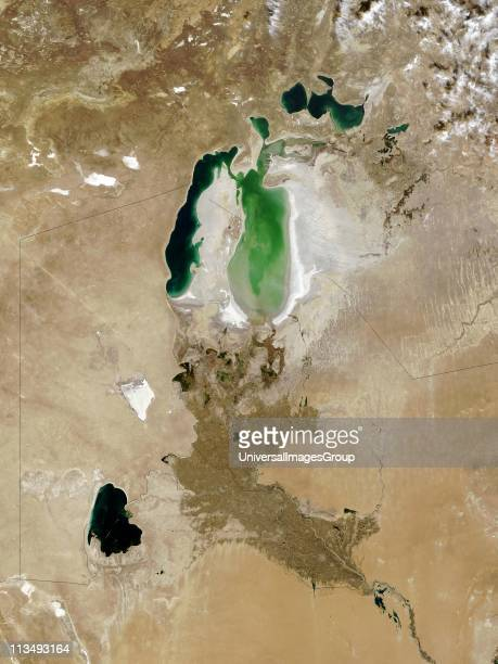 The Aral Sea October 2008 Once fourth largest inland sea in southern Kazakhstan and northern Uzbekistan it has divided into three bodies of water...