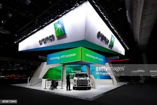 The Aramco exhibit is shown at the 2018 North American International Auto Show January 16 2018 in Detroit Michigan More than 5100 journalists from 61...